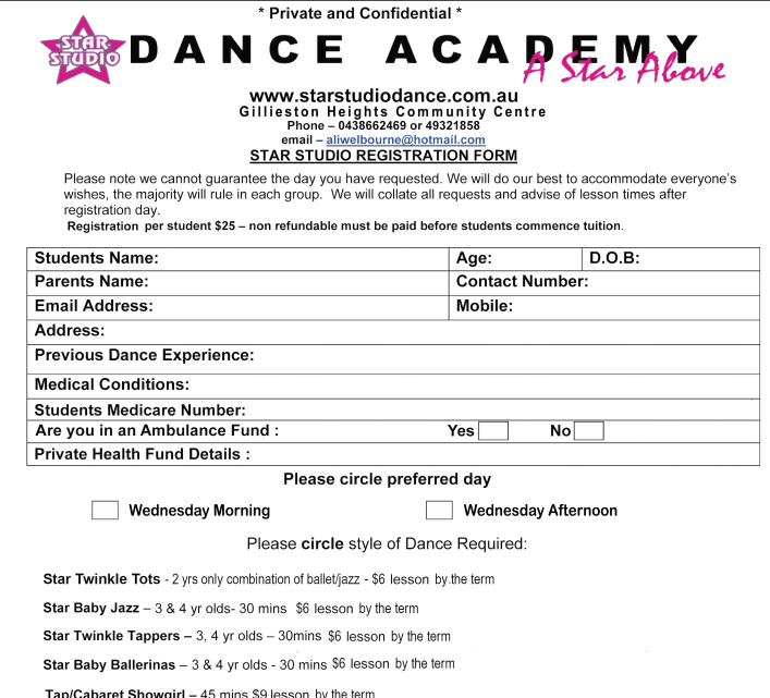 Application form i 765 ebook download application form for for Dance school registration form template free