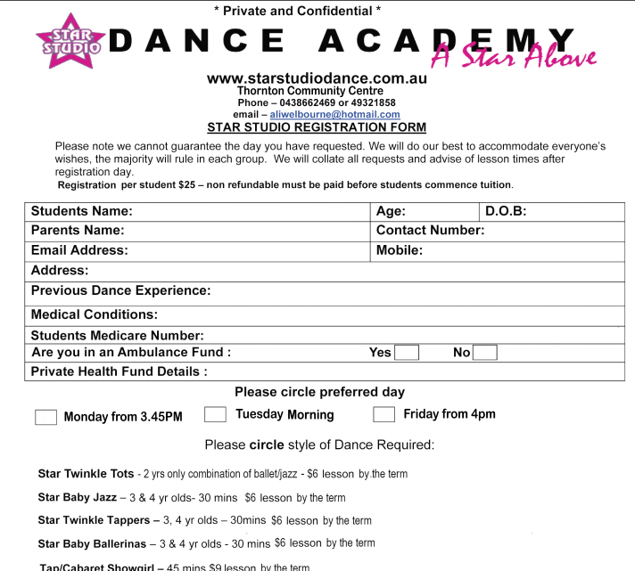Star studio dance media for Dance school registration form template free
